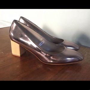 Zara rose gold block heels